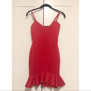 NWT Boohoo Stretch Ruffle Fitted Mini Red Dress